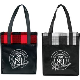 Buffalo Plaid Laminated Grocery Tote Bag