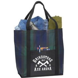 Buffalo Plaid Laminated Shopper Tote Bags