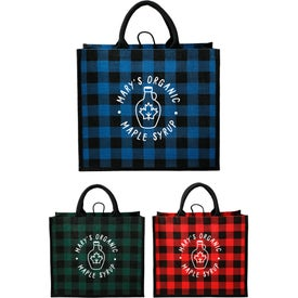 Buffalo Plaid Printed Jute Tote Bag