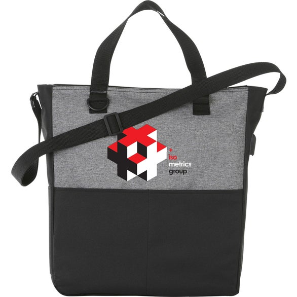 Black / Gray Cameron Convention Tote Bag with USB Port