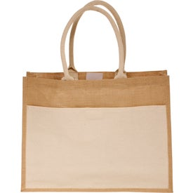 Canvas Pocket Jute Tote Bag