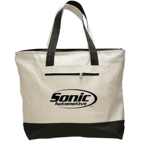 Canvas Zipper Tote Bag Printed with Your Logo