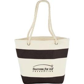 Capri Stripes Cotton Shopper Tote Bag with Your Slogan