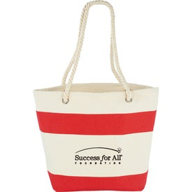 Imprinted Capri Stripes Cotton Shopper Tote Bag