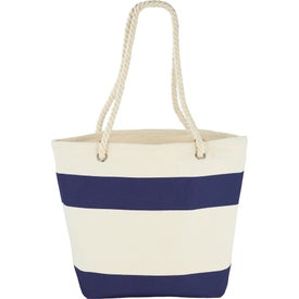 Cotton Canvas Capri Stripes Shopper Tote Bag