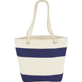 Capri Stripes Cotton Shopper Tote Bag Branded with Your Logo