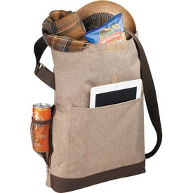 Printed Chambray Foldover Tablet Tote Bag