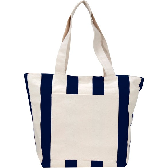 Natural / Navy Chandler Cotton Canvas Zippered Tote Bag