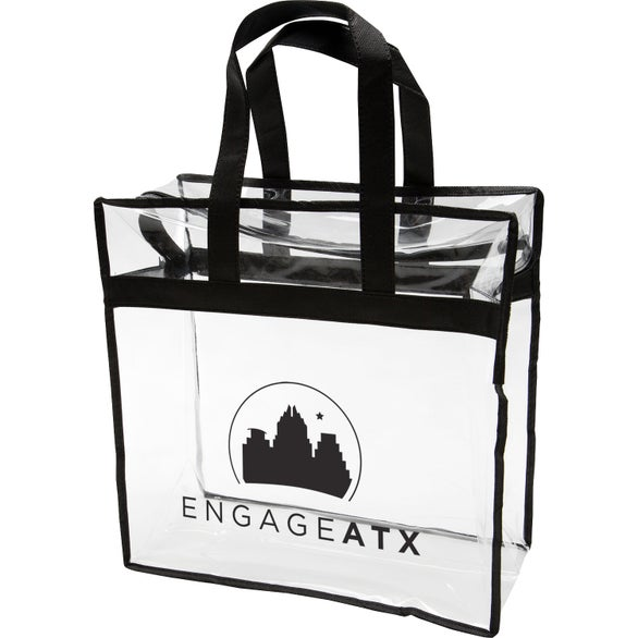 Clear / Black Clear PVC Zipper Tote Bag