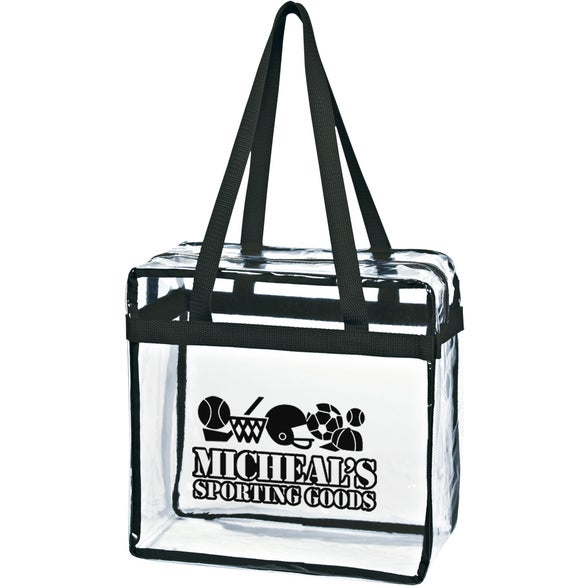 Clear / Black Clear Tote Bag with Zipper
