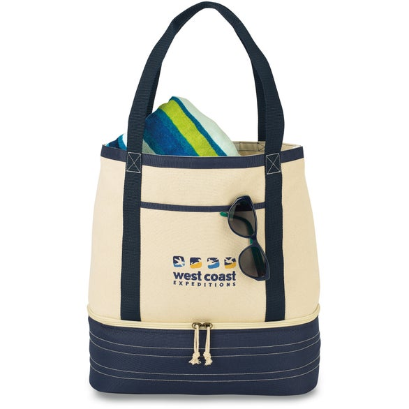 Natural / Navy Blue Coastal Cotton Insulated Tote Bag
