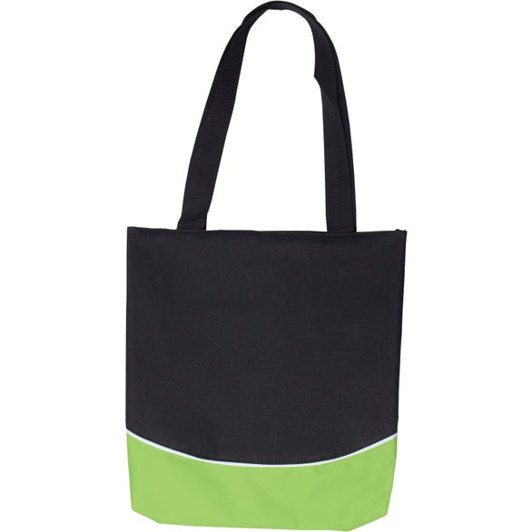 Black / Lime Green Color Curve Accent Panel Tote Bag