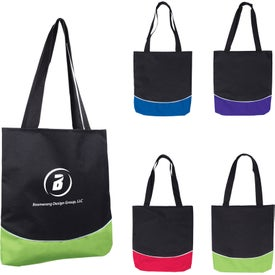 Color Curve Accent Panel Tote Bag for Your Company