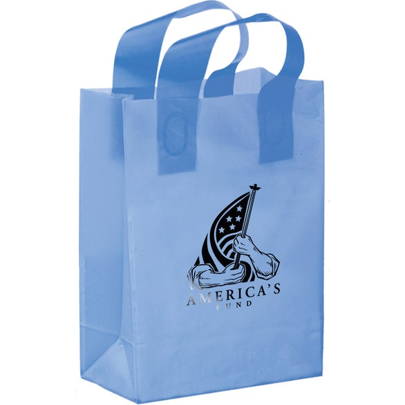 Blue Color Frosted Soft Loop Shopper Tote Bag
