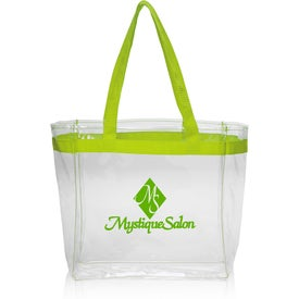Color Handles Clear Plastic Tote Bag