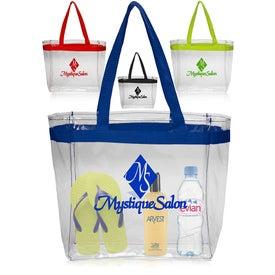 Color Handles Clear Plastic Tote Bag
