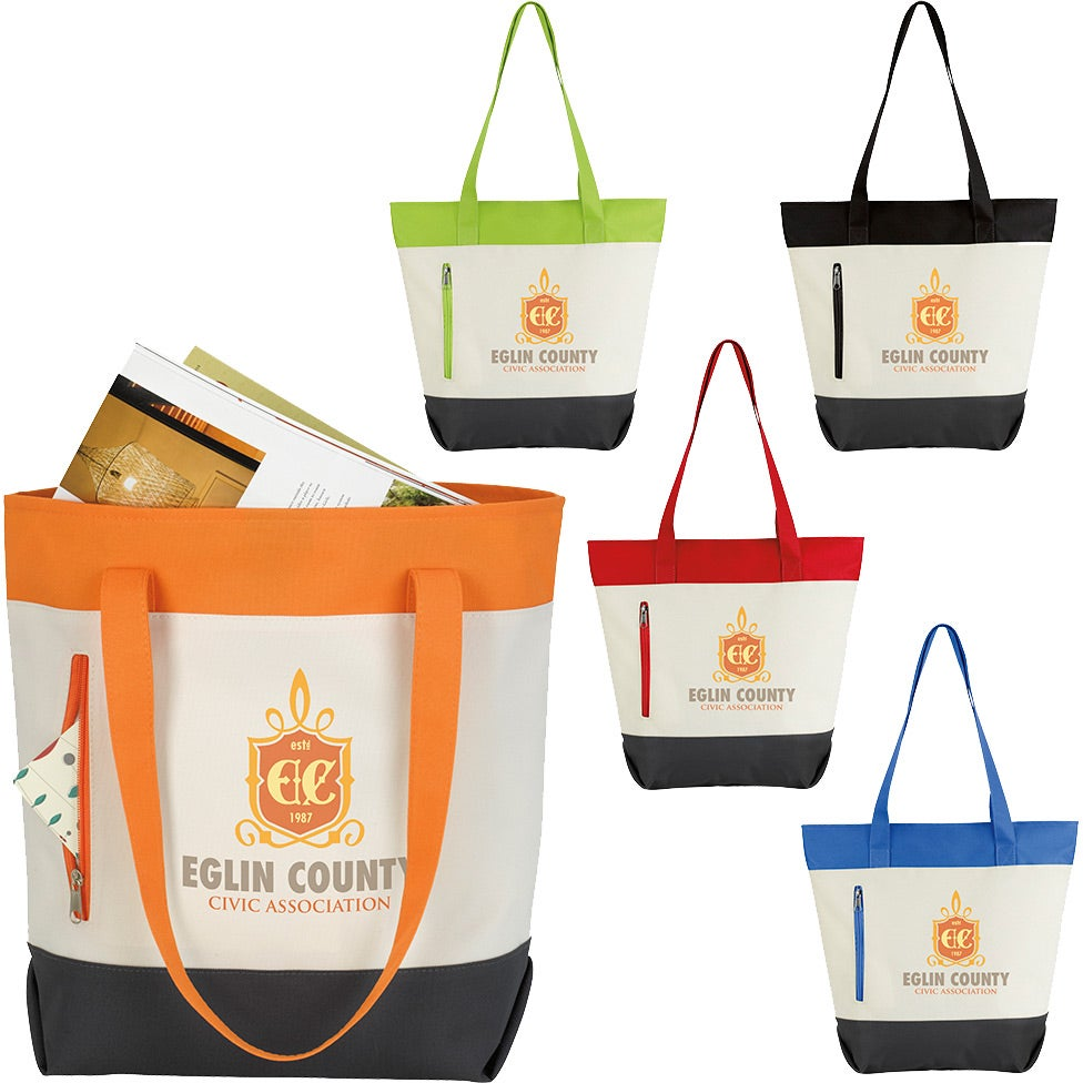 Color Zip Tote Bag For Advertising