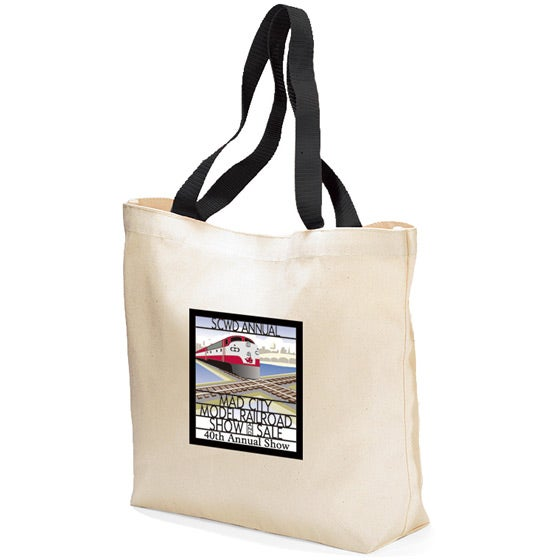 White / Black Colored Handle Tote Bag