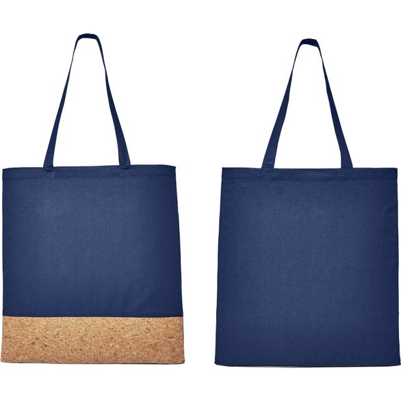 Navy Blue / Brown Cotton and Cork Tote Bag