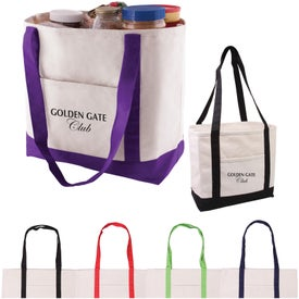 Cotton Canvas Boat Tote with Your Slogan
