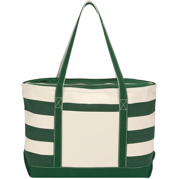 Natural / Forest Green Cotton Canvas Nautical Tote Bag