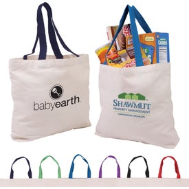 Cotton Canvas Tote w/ Gusset & Color Accent Handles with Your Slogan