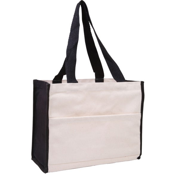 Natural / Black Cotton Gusset Accent Box Tote Bag