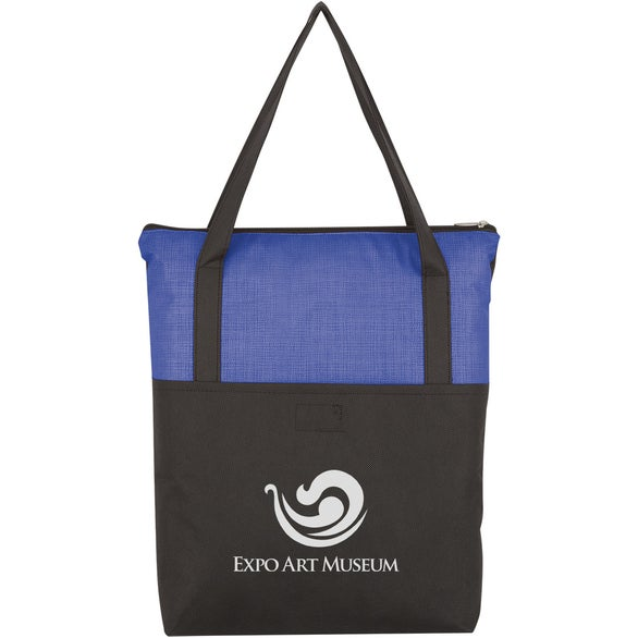 Black / Blue Crosshatch Non-Woven Zippered Tote Bag