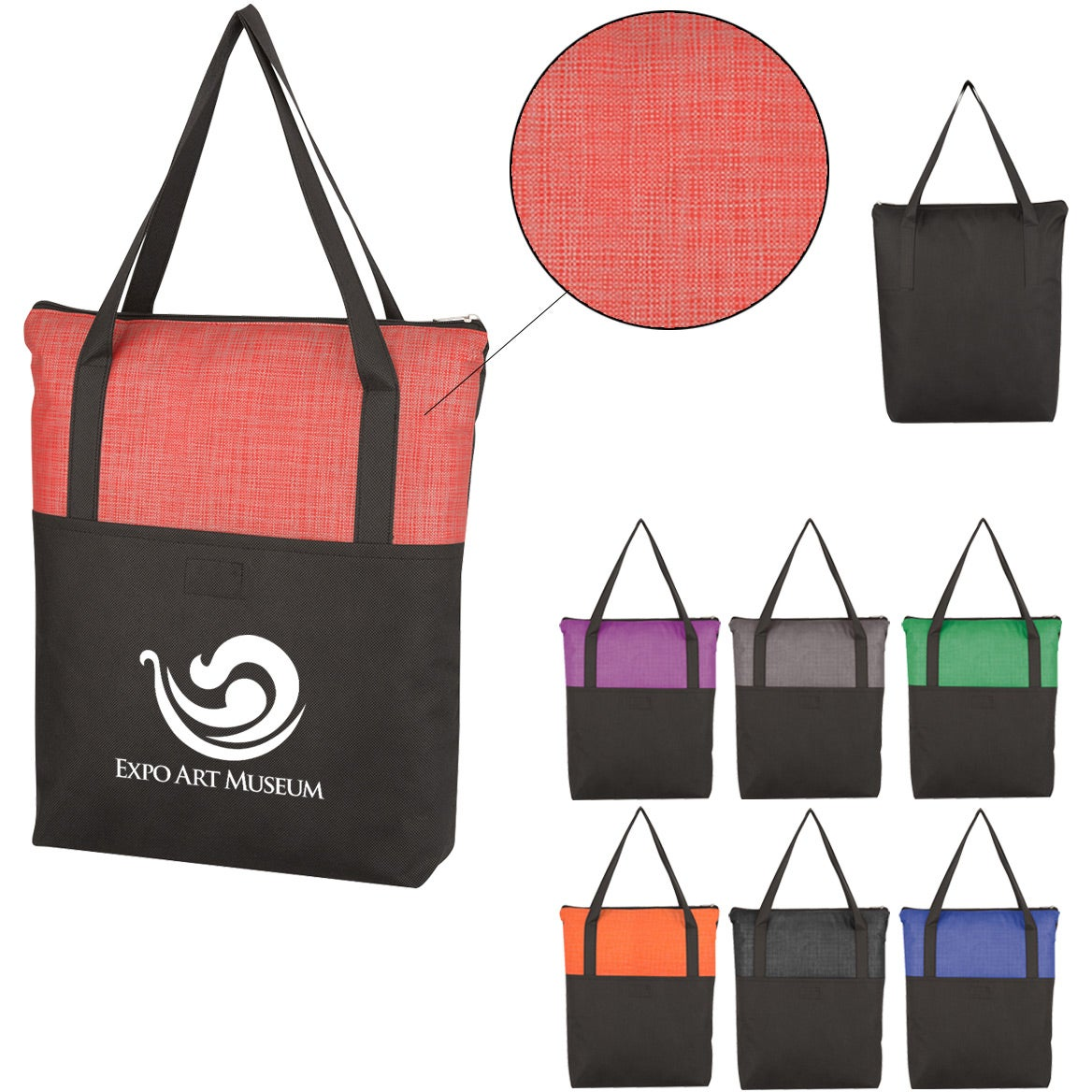 Crosshatch Non Woven Zippered Tote Bag Imprinted With Your Logo