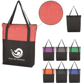 Crosshatch Non-Woven Zippered Tote Bags
