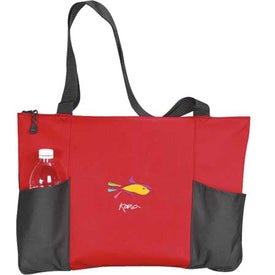 Personalized Double Pocket Zippered Tote