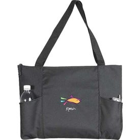 Branded Double Pocket Zippered Tote