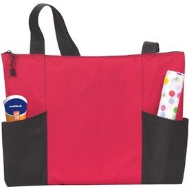 Company Double Pocket Zippered Tote
