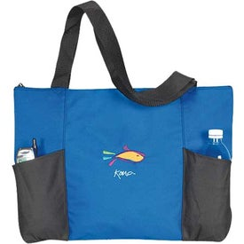 Double Pocket Zippered Tote Imprinted with Your Logo