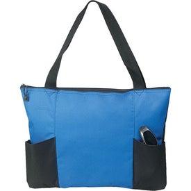 Logo Double Pocket Zippered Tote Bag