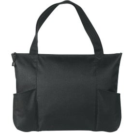 Personalized Double Pocket Zippered Tote Bag