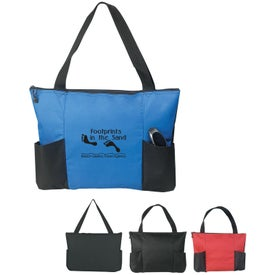 Printed Double Pocket Zippered Tote Bag