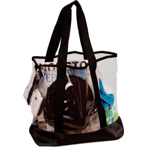 Clear / Black Dura-Clear Vinyl Tote Bag