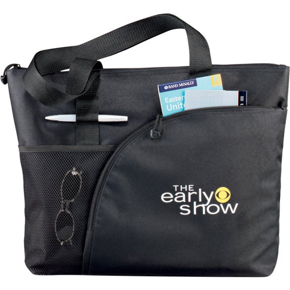 Black Excel Sport Zippered Utility Business Tote Bag