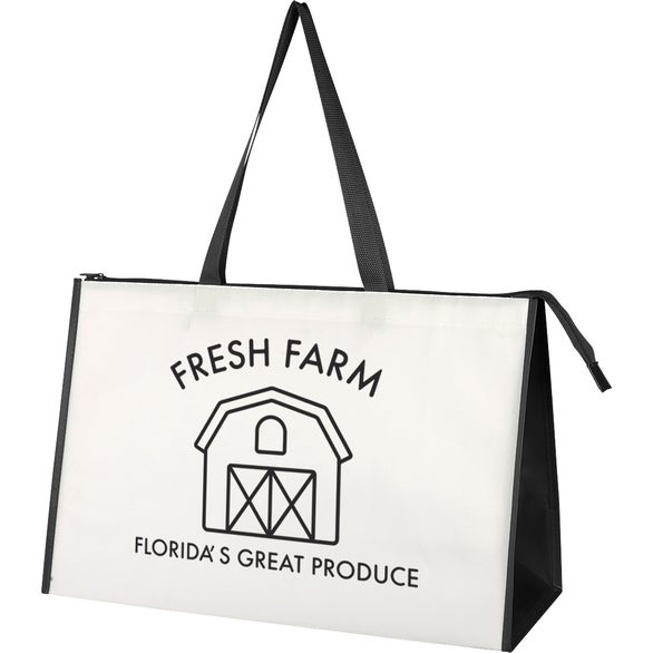 White / Black Expo Laminated Non-Woven Tote Bag