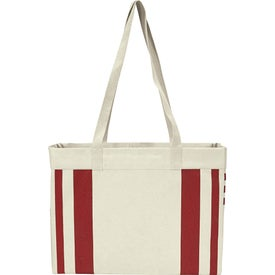 Fletcher 16 Oz. Cotton Canvas Striped Tote Bag
