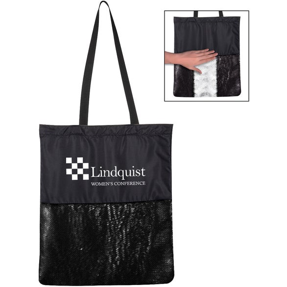 Black Flip Sequin Tote Bag