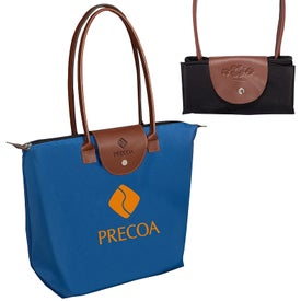Folding Tote Bag with Leather Flap Closure