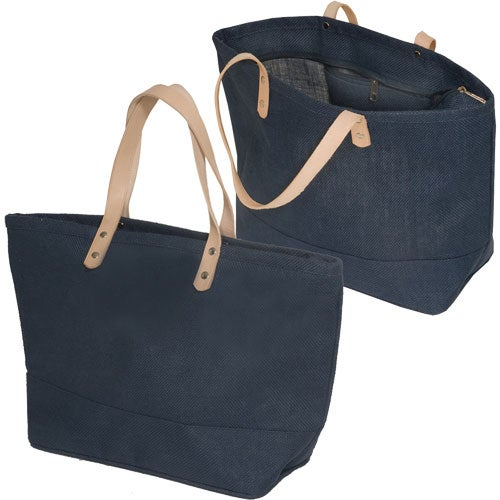 Blue Hamptons Jute Tote Bag