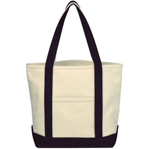 Natural / Black Small Heavy Cotton Canvas Boat Tote Bag