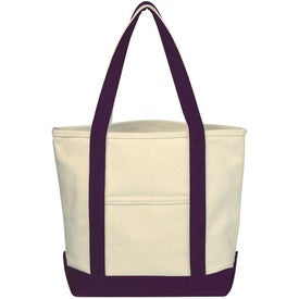 Monogrammed Small Heavy Cotton Canvas Boat Tote