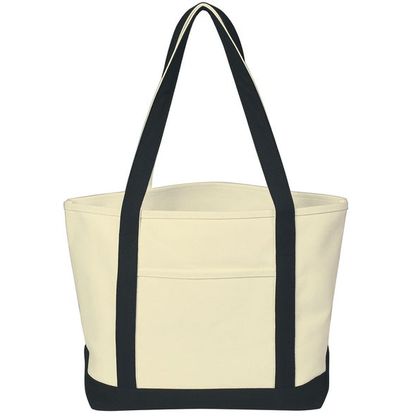 Natural / Black Heavy Cotton Canvas Boat Tote Bag