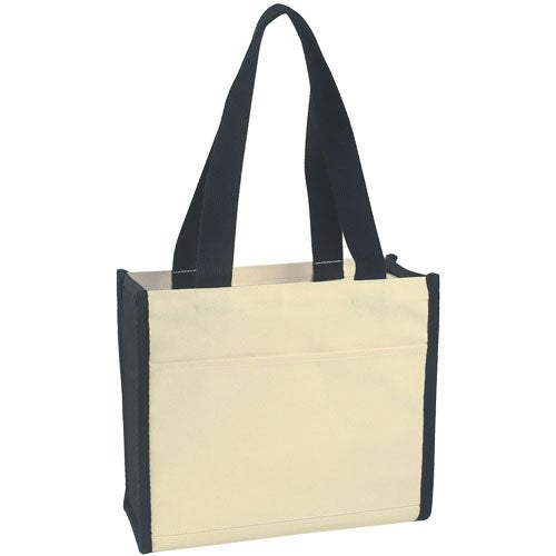 Natural / Black Heavy Cotton Canvas Tote Bag