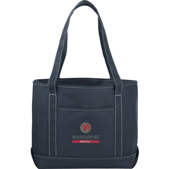 Navy Color Cotton Canvas Boat Tote Bag