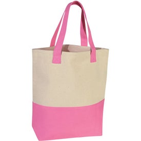 Heavy Cotton Canvas Two-Tone Tote Bag Printed with Your Logo
